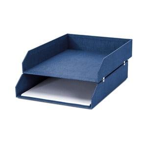 Modrý 2-poschodový organizér na dokumenty Bigso, 31×23 cm