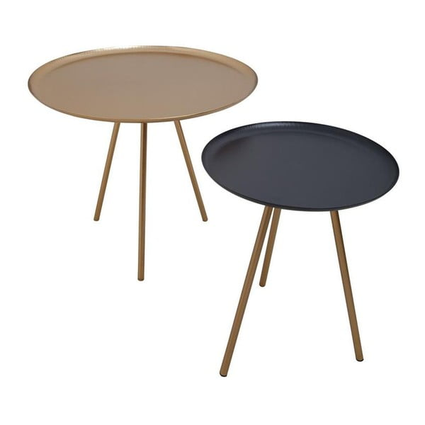 Sada 2 stolíkov Nesting Gold/Black