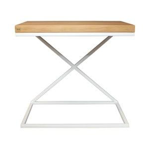 Biely odkladací stolík s doskou z dubového dreva Take Me HOME, 50×30cm