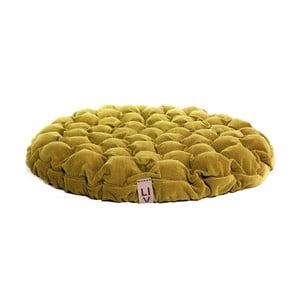 Hořčicový sedací polštářek s masážními míčky Linda Vrňáková Bloom, ø75cm