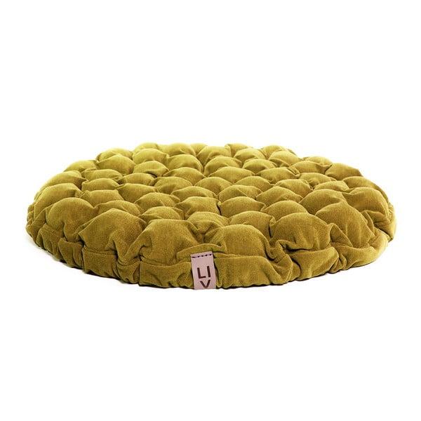 Horčicovožltý sedací vankúšik s masážnymi loptičkami Linda Vrňáková Bloom, Ø 75 cm