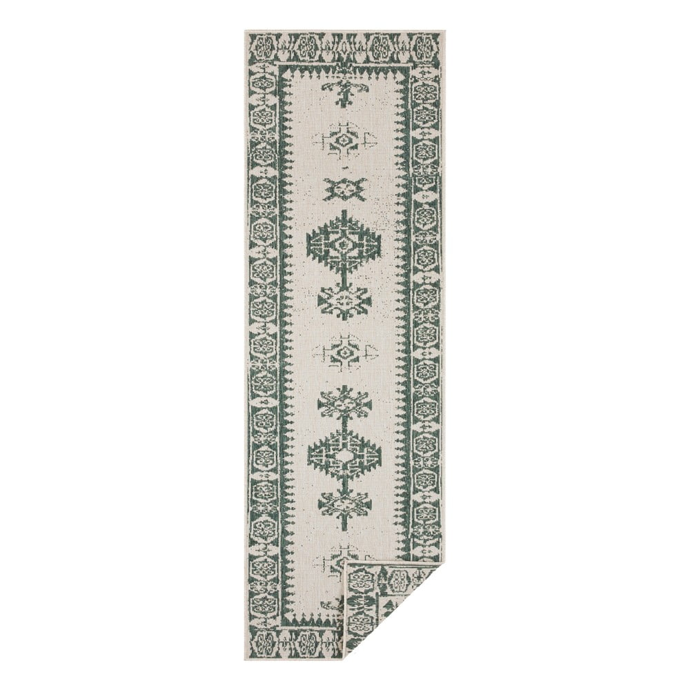 Zeleno-krémový vonkajší koberec Bougari Duque, 80 x 350 cm