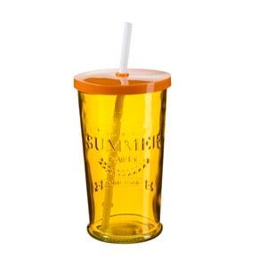 Sada 4 oranžových pohárikov s viečkom a slamkou SUMMER FUN II, 500ml