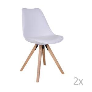 Sada 2 bielych stoličiek s nohami z kaučukovníka House Nordic Bergen