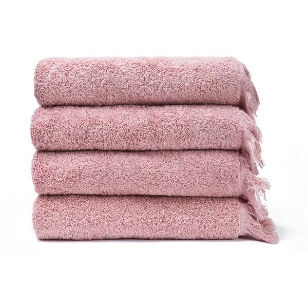 Sada 4 ružových bavlnených uterákov Casa Di Bassi Bath, 50x90 cm