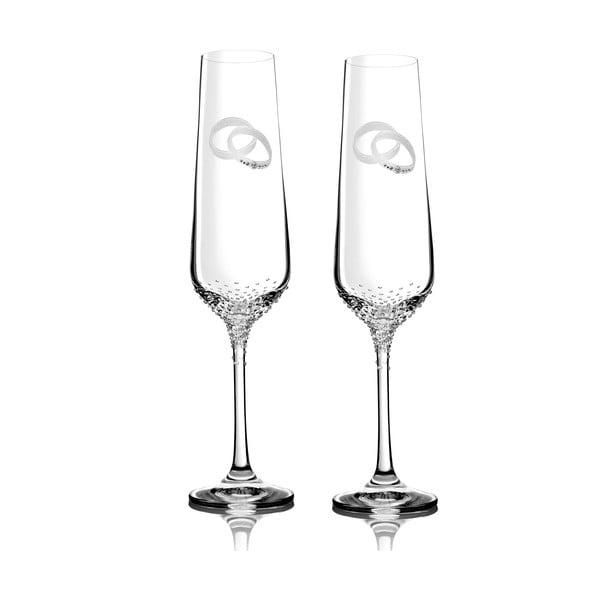 Sada 2 pohárov na šampanské Porte so Swarovski Elements v luxusnom balení