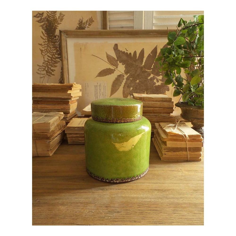Zelená keramická nádoba s vrchnákom Orchidea Milano, výška 21 cm