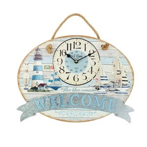 Nástenné hodiny Welcome Blue, 40x30 cm