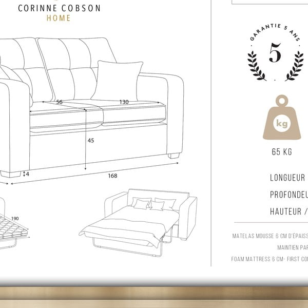 Čierna dvojmiestna pohovka Corinne Cobson Home Melvin