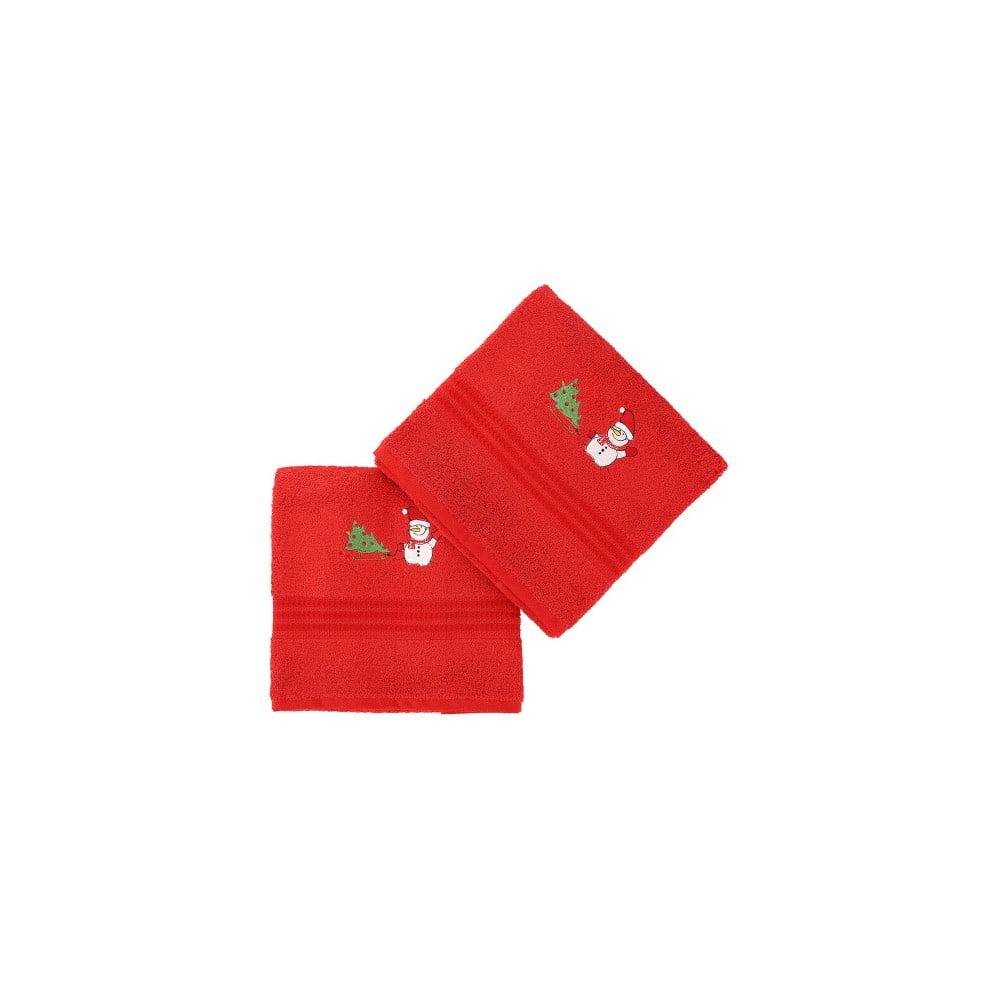 Sada 2 uterákovCorap Red Snowman, 50x90 cm