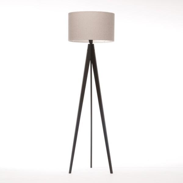 Krémová stojacia lampa 4room Artist, čierna lakovaná breza, 150 cm