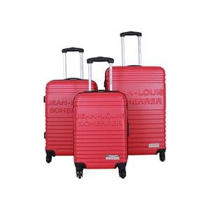 Sada 3 kufrov Jean Louis Scherrer Trolley Red