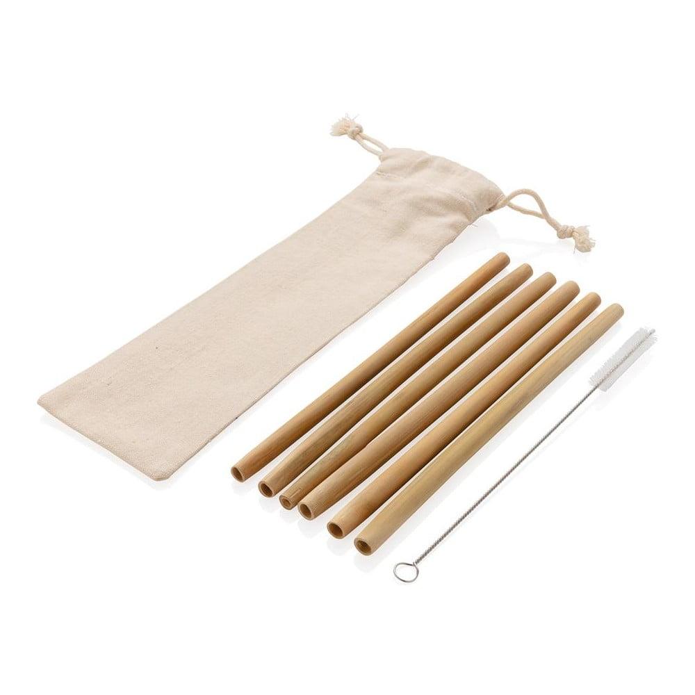 6-dielna sada bambusových slamiek s čistiacou kefkou a obalom XD Collection