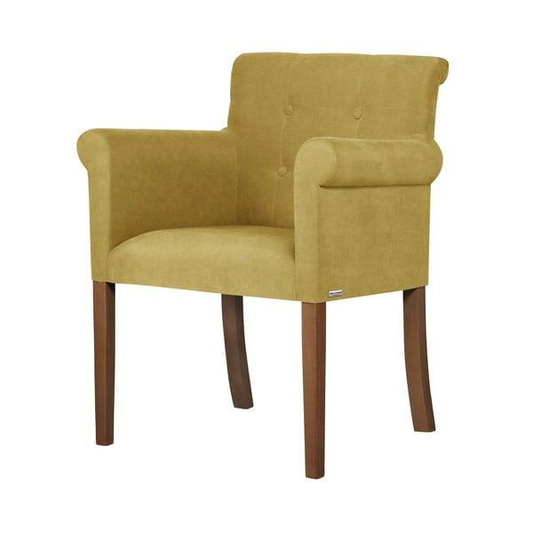 Žltá stolička s tmavohnedými nohami Ted Lapidus Maison Flacon
