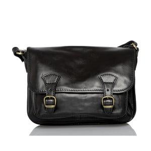 Čierna kožená taška cez rameno Glorious Black Lisbona