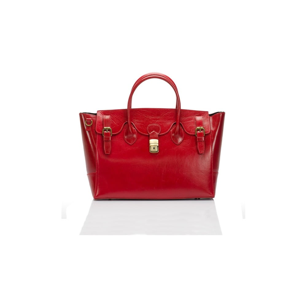 735d0ed74b Červená kožená kabelka Lisa Minardi Pomona