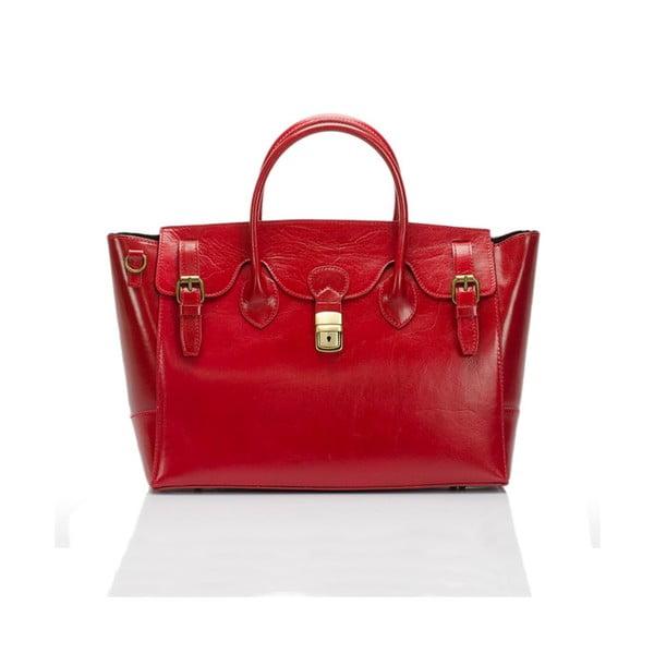 Červená kožená kabelka Lisa Minardi Pomona