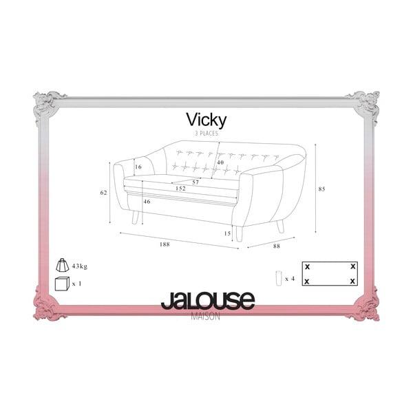 Ružovočervená pohovka pre troch Jalouse Maison Vicky