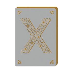 Linajkový zápisník A6 s monogramom Portico Designs X, 160stránok
