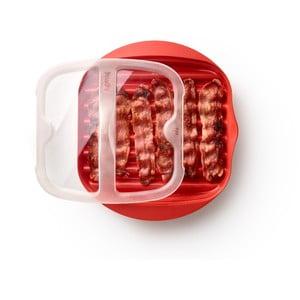 Červená silikónová nádoba na prípravu slaniny Lékué Bacon