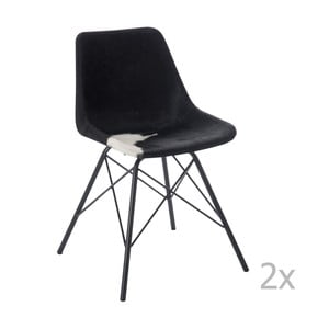 Sada 2 čierno-bielych kožených stoličiek J-Line Cross
