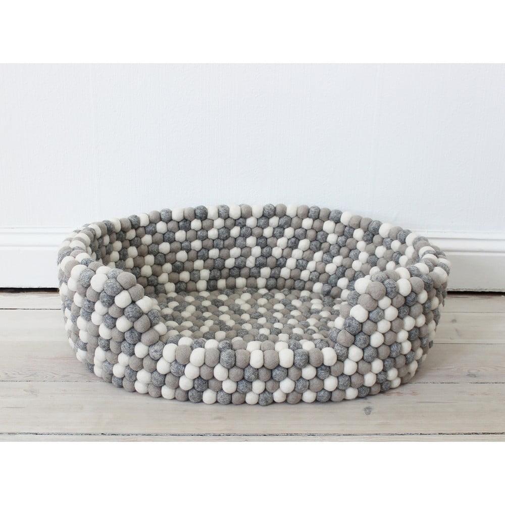 Svetlý sivo-biely guľôčkový vlnený pelech pre domáce zvieratá Wooldot Ball Pet Basket, 60 x 40 cm