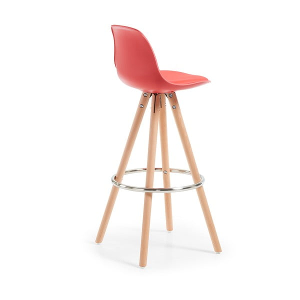 Červená barová stolička s drevenou podnožou La Forma Stag