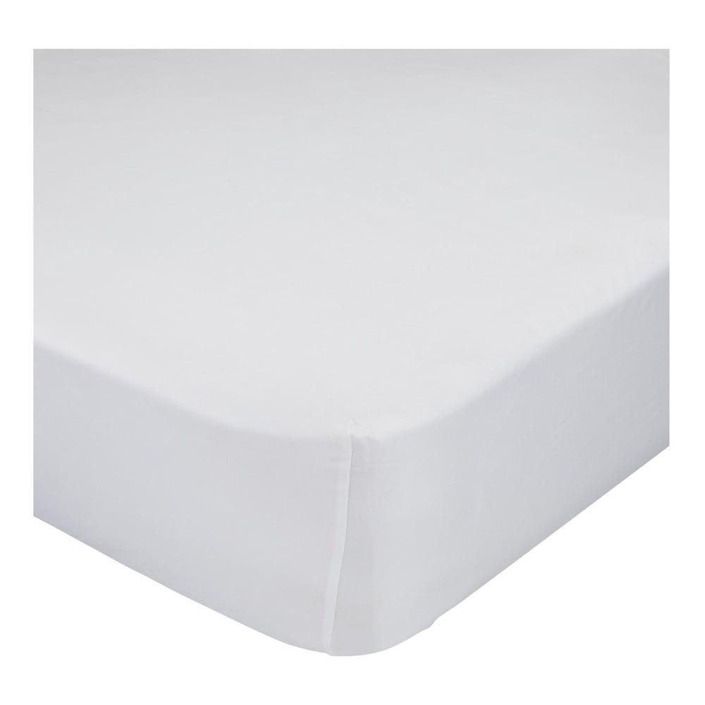Biela bavlnená elastická plachta Happy Friday Basic, 90 x 200 cm