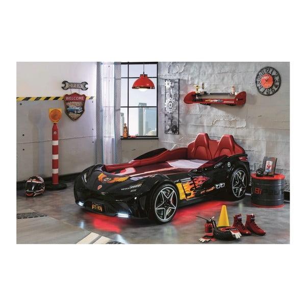 Čierna detská posteľ v tvare auta s červeným osvetlením Fast GTS Carbed Black