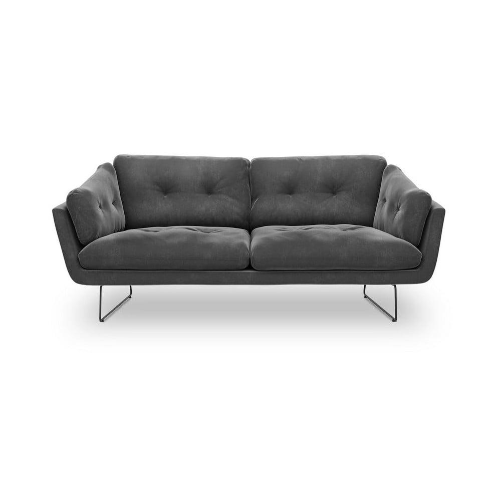 Tmavosivá trojmiestna pohovka so zamatovým poťahom Windsor & Co Sofas Gravity