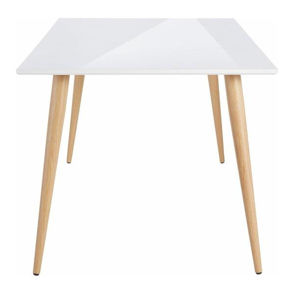 Lesklý biely jedálenský stôl Støraa Canton , 90×160 cm