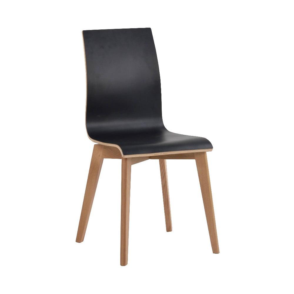 Čierna jedálenská stolička s hnedými nohami Folke Grace