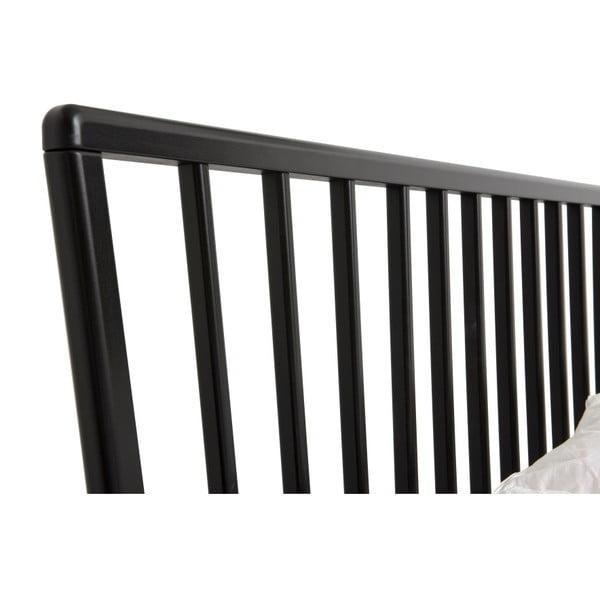 Čierna ručne vyrábaná posteľ z masívneho brezového dreva Kiteen Melodia, 160 × 200 cm
