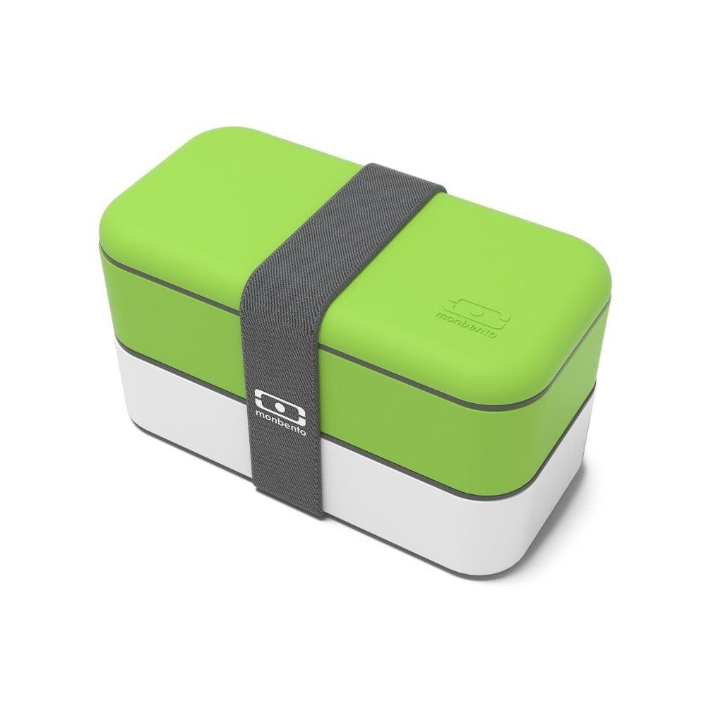 Zeleno-biely obedový box Monbento Original