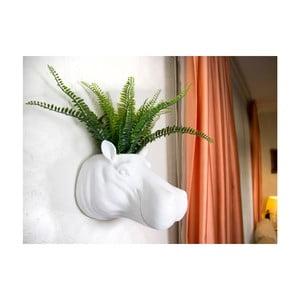 Biela nástenná dekorácia / kvetináč Walplus Geometric Hippo