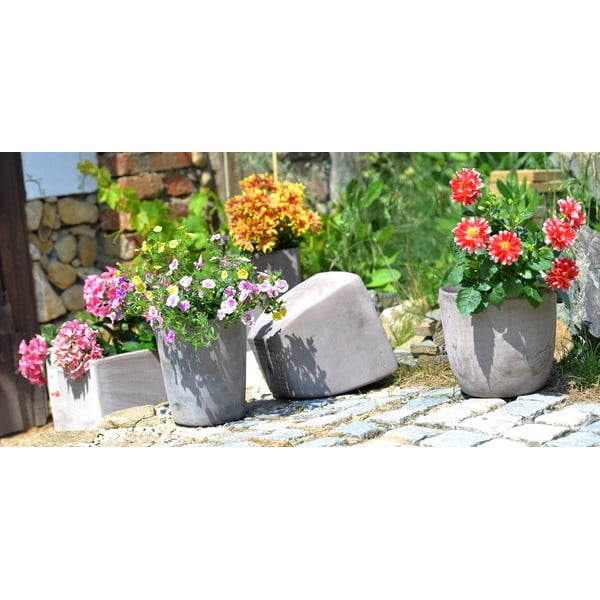 Keramický kvetináč Oll 26 cm, sivý