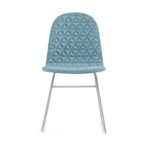 Svetlomodrá stolička s kovovými nohami IKER Mannequin V Triangle
