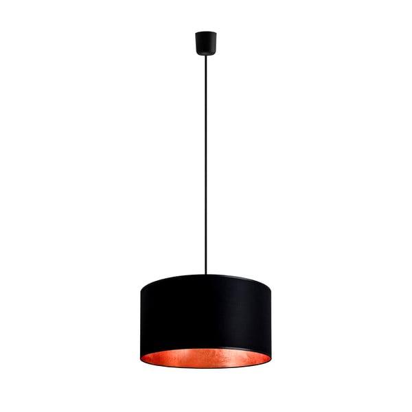 Stropná lampa Tres, čierna/medená, priemer 36 cm