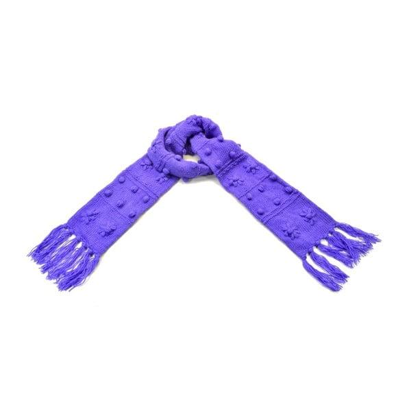 Vlnený šál s flisovou podšívkou Fialové strapce