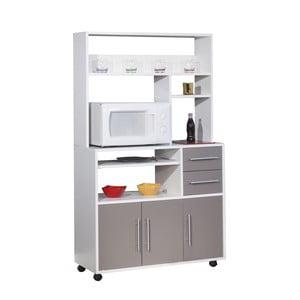 Sivý pojazdný kuchynský úložný systém s policami Symbiosis Cesar