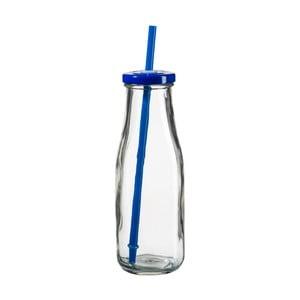 Fľaša s modrým viečkom a slamkou SUMMER FUN II, 440ml