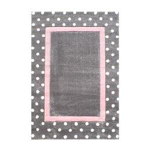 Ružovo-sivý detský koberec Happy Rugs Dots, 120x180cm