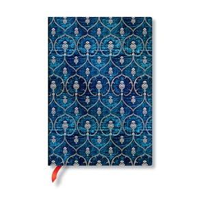 Modrý linajkový zápisník s tvrdou väzbou Paperblanks Blue Velvet, 144 strán