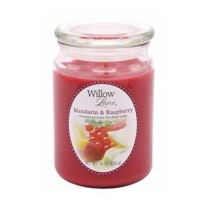 Vonná sviečka v skle zo sojového vosku s vôňou mandarínky a maliny Candle-Lite, doba horenia až 115 hodín