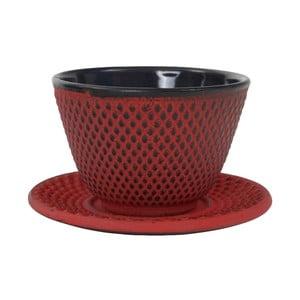 Červený liatinový hrneček s tanierikom Tokyo Design Studio Arare, 120 ml