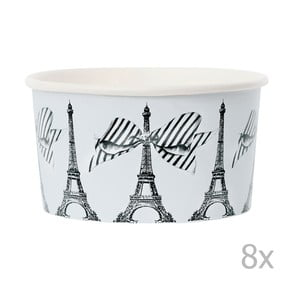 Sada 8 papierových kelímkov na zmrzlinu s lyžičkami Miss Étoile Paris