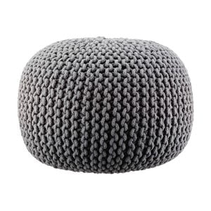Pletený puf Lob, sivý