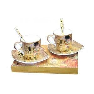 Sada 2 šálok s podšálkami a lyžičkami HOME ELEMENTS Klimt Espresso