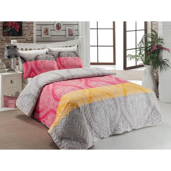 Sada prešívanej prikrývky na posteľ a dvoch vankúšov Double 474, 200x220 cm