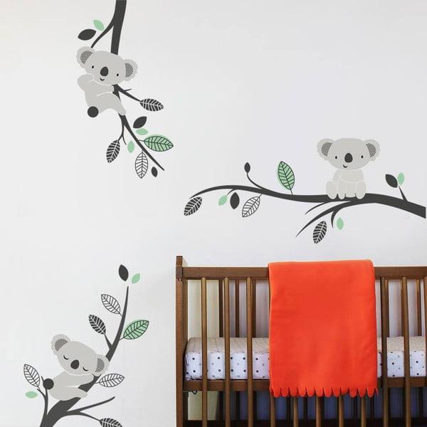 Samolepka na stenu Koaly a vetvy, mentolová - 2 archy, 70x50 cm